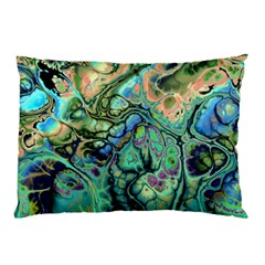 Fractal Batik Art Teal Turquoise Salmon Pillow Case (two Sides) by EDDArt
