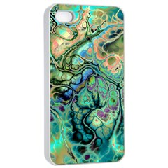 Fractal Batik Art Teal Turquoise Salmon Apple Iphone 4/4s Seamless Case (white) by EDDArt