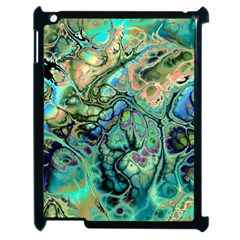 Fractal Batik Art Teal Turquoise Salmon Apple Ipad 2 Case (black) by EDDArt