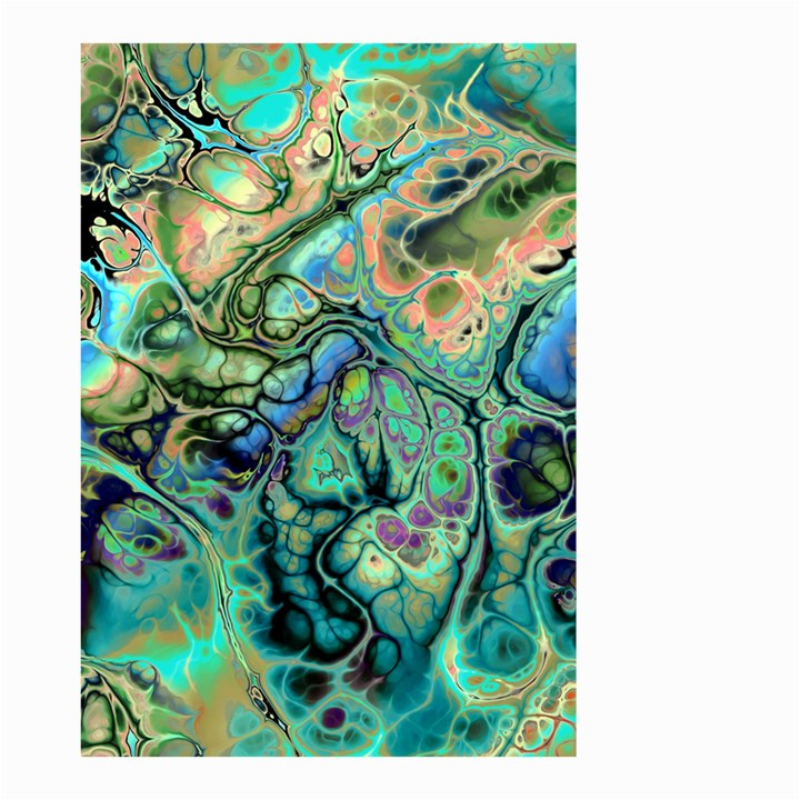 Fractal Batik Art Teal Turquoise Salmon Small Garden Flag (Two Sides)