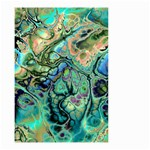 Fractal Batik Art Teal Turquoise Salmon Small Garden Flag (Two Sides) Back