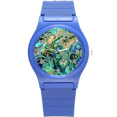 Fractal Batik Art Teal Turquoise Salmon Round Plastic Sport Watch (s) by EDDArt
