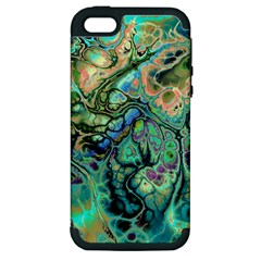 Fractal Batik Art Teal Turquoise Salmon Apple Iphone 5 Hardshell Case (pc+silicone) by EDDArt