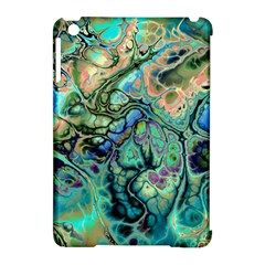 Fractal Batik Art Teal Turquoise Salmon Apple Ipad Mini Hardshell Case (compatible With Smart Cover)
