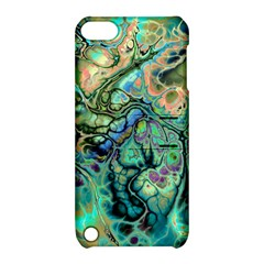 Fractal Batik Art Teal Turquoise Salmon Apple Ipod Touch 5 Hardshell Case With Stand by EDDArt