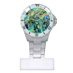 Fractal Batik Art Teal Turquoise Salmon Plastic Nurses Watch by EDDArt