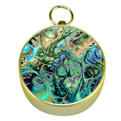 Fractal Batik Art Teal Turquoise Salmon Gold Compasses by EDDArt