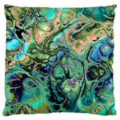 Fractal Batik Art Teal Turquoise Salmon Large Flano Cushion Case (two Sides) by EDDArt