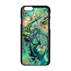 Fractal Batik Art Teal Turquoise Salmon Apple Iphone 6/6s Black Enamel Case