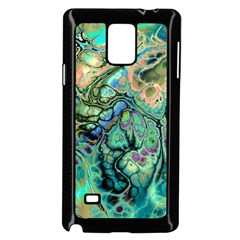 Fractal Batik Art Teal Turquoise Salmon Samsung Galaxy Note 4 Case (black) by EDDArt