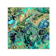 Fractal Batik Art Teal Turquoise Salmon Small Satin Scarf (square) by EDDArt