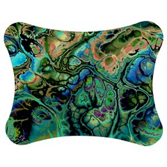 Fractal Batik Art Teal Turquoise Salmon Jigsaw Puzzle Photo Stand (bow) by EDDArt