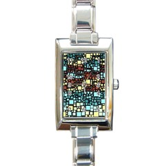 Block On Block, Aqua Rectangle Italian Charm Watch by MoreColorsinLife