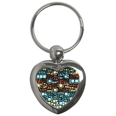 Block On Block, Aqua Key Chains (heart)  by MoreColorsinLife