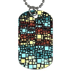 Block On Block, Aqua Dog Tag (one Side) by MoreColorsinLife