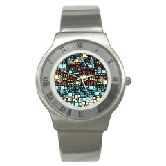 Block On Block, Aqua Stainless Steel Watch by MoreColorsinLife