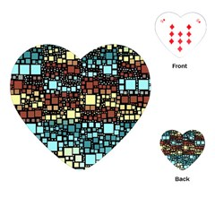 Block On Block, Aqua Playing Cards (heart)  by MoreColorsinLife