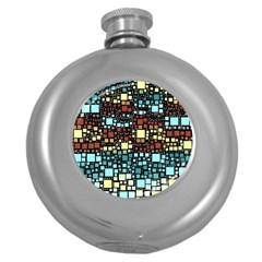 Block On Block, Aqua Round Hip Flask (5 Oz) by MoreColorsinLife