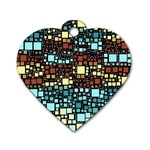 Block On Block, Aqua Dog Tag Heart (One Side) Front