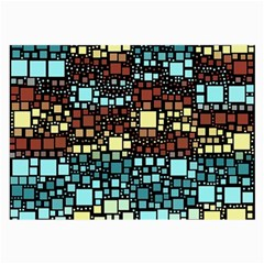 Block On Block, Aqua Large Glasses Cloth (2 Side) by MoreColorsinLife