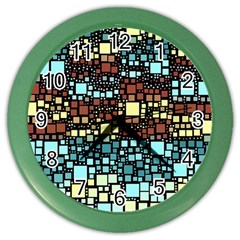 Block On Block, Aqua Color Wall Clocks by MoreColorsinLife