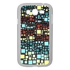 Block On Block, Aqua Samsung Galaxy Grand Duos I9082 Case (white) by MoreColorsinLife