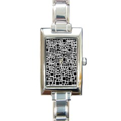 Block On Block, B&w Rectangle Italian Charm Watch by MoreColorsinLife