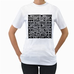 Block On Block, B&w Women s T-Shirt (White) (Two Sided)