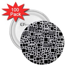 Block On Block, B&w 2.25  Buttons (100 pack)