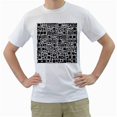 Block On Block, B&w Men s T-Shirt (White) (Two Sided)