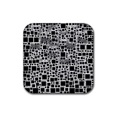 Block On Block, B&w Rubber Square Coaster (4 pack)