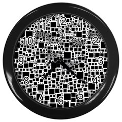 Block On Block, B&w Wall Clocks (black) by MoreColorsinLife