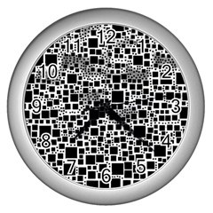 Block On Block, B&w Wall Clocks (silver)  by MoreColorsinLife