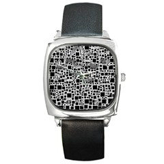 Block On Block, B&w Square Metal Watch by MoreColorsinLife