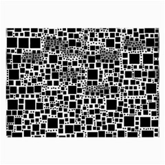 Block On Block, B&w Large Glasses Cloth by MoreColorsinLife