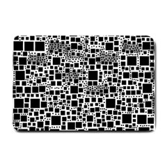 Block On Block, B&w Small Doormat  by MoreColorsinLife