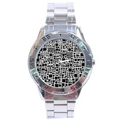 Block On Block, B&w Stainless Steel Analogue Watch