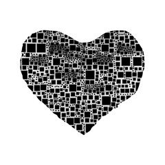 Block On Block, B&w Standard 16  Premium Heart Shape Cushions by MoreColorsinLife