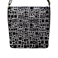Block On Block, B&w Flap Messenger Bag (l)