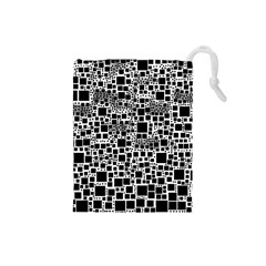 Block On Block, B&w Drawstring Pouches (Small)