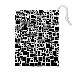 Block On Block, B&w Drawstring Pouches (Extra Large)