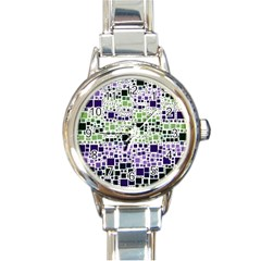 Block On Block, Purple Round Italian Charm Watch by MoreColorsinLife