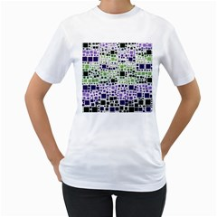Block On Block, Purple Women s T Shirt (white) (two Sided) by MoreColorsinLife