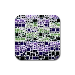 Block On Block, Purple Rubber Coaster (square)  by MoreColorsinLife