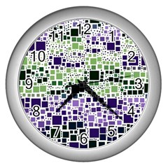 Block On Block, Purple Wall Clocks (silver)  by MoreColorsinLife