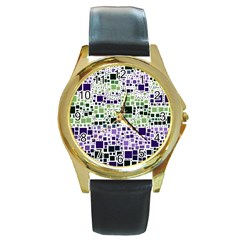 Block On Block, Purple Round Gold Metal Watch by MoreColorsinLife