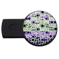 Block On Block, Purple Usb Flash Drive Round (4 Gb)  by MoreColorsinLife