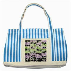 Block On Block, Purple Striped Blue Tote Bag by MoreColorsinLife