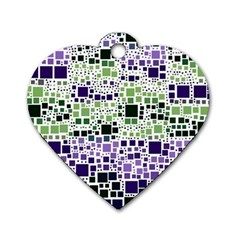 Block On Block, Purple Dog Tag Heart (two Sides) by MoreColorsinLife