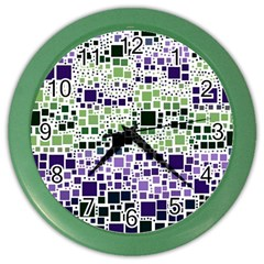 Block On Block, Purple Color Wall Clocks by MoreColorsinLife